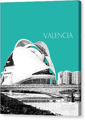 Valencia Skyline City Of Arts And Sciences - Aqua Canvas Print by DB Artist