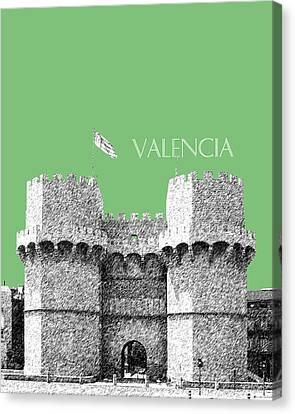 Valencia Skyline Serrano Towers - Apple Canvas Print by DB Artist
