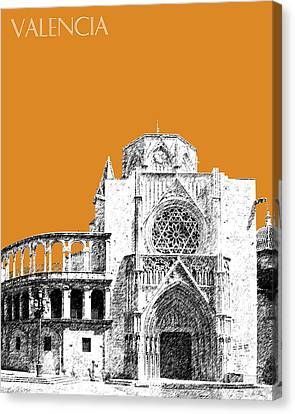 Valencia Skyline Valencia Cathedral - Dark Orange Canvas Print