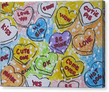 Valentine Candy Hearts Canvas Print by Kathy Marrs Chandler