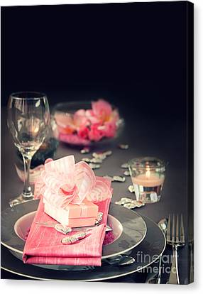 Valentine Day Romantic Table Setting Canvas Print by Mythja  Photography