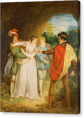 Valentine Rescuing Silvia From Proteus, From William Shakespeares The Two Gentlemen Of Verona, 1792 Canvas Print