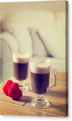 Valentines Day Coffees Canvas Print by Amanda Elwell