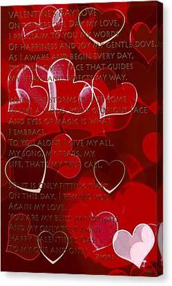 Valentine's Day Love Hearts Canvas Print by Debra     Vatalaro