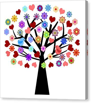 Valentines Day Tree With Love Birds Hearts Flowers Canvas Print