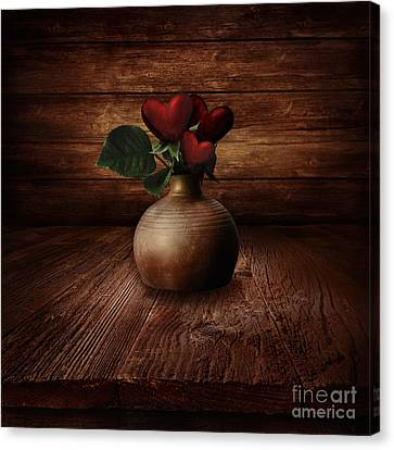 Valentines Design - Heart Flowers Canvas Print by Mythja  Photography
