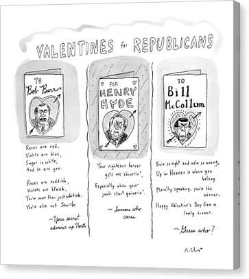 'valentines For Republicans' Canvas Print
