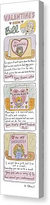 Valentines From Bill To Monica Canvas Print by Roz Chast