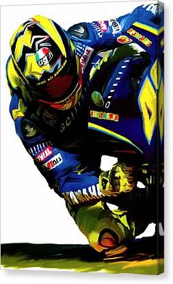 Valentino Rossi  Corner Speed IIi Canvas Print by Iconic Images Art Gallery David Pucciarelli