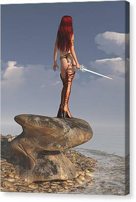 Canvas Print featuring the digital art Valkyrie On The Shore by Kaylee Mason