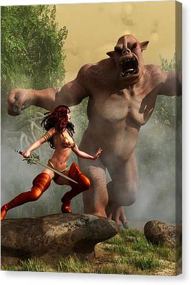 Canvas Print featuring the digital art Valkyrie Versus Ogre by Kaylee Mason