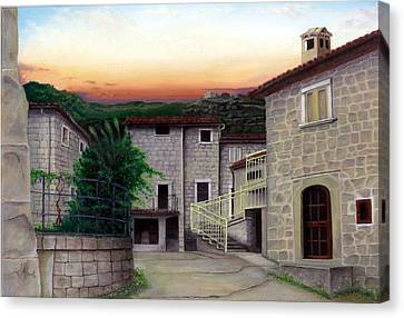 Canvas Print featuring the painting Vallecchia De Monte Calvo by Albert Puskaric