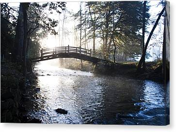 Valley Creek Bow Bridge At Valley Forge Canvas Print by Bill Cannon