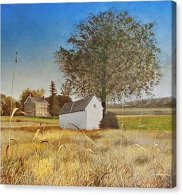 Valley Forge Spring House Canvas Print by Randall Graham
