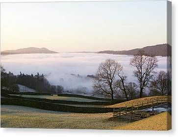 Valley Mist Over Windermere At Dawn Canvas Print by Ashley Cooper