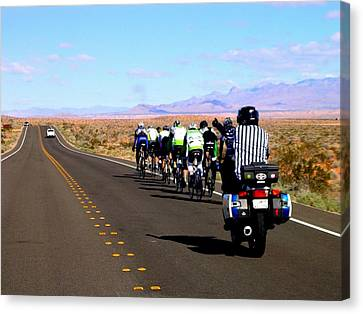 Valley Of Fire Bike Race Canvas Print by Cindy Croal