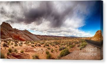 Valley Of Fire With Dramatic Sky Canvas Print by Jane Rix