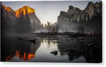 Valley View Yosemite National Park Winterscape Sunset Canvas Print by Scott McGuire