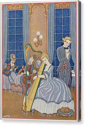 Valmont Seducing His Victim Canvas Print by Georges Barbier