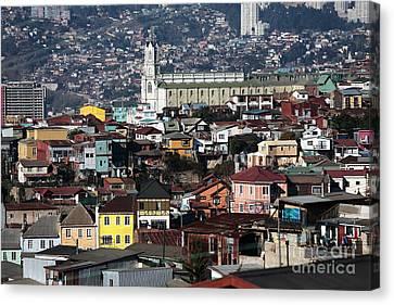 Valparaiso Buildings Canvas Print by John Rizzuto