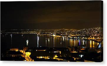 Valparaiso Harbor At Night Canvas Print by Kurt Van Wagner