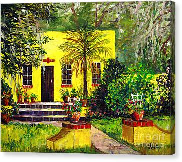 Canvas Print featuring the painting Vamo Road House by Lou Ann Bagnall
