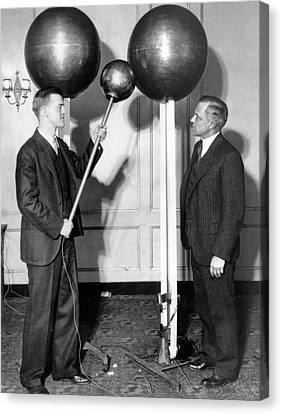 History Of Science Canvas Print - Van De Graaff And Karl Compton by Massachusetts Institute Of Technology Museum And Smithsonian Institution, Courtesy Aip Emilio Segre Visual Archives
