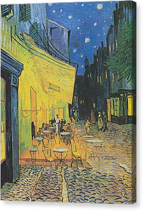 Van Gogh Cafe Terrace At Night 1888 Canvas Print by Movie Poster Prints