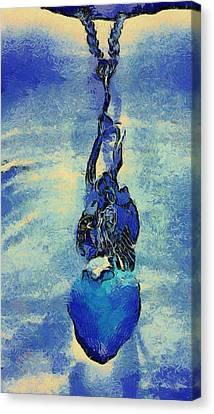Van Gogh Starry Night Style Heart Canvas Print by Lorri Crossno