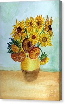 van Gogh Sunflowers in watercolor Canvas Print by Donna Walsh