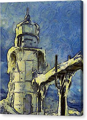 The Frozen Lighthouse Lake Michigan Canvas Print by Dan Sproul