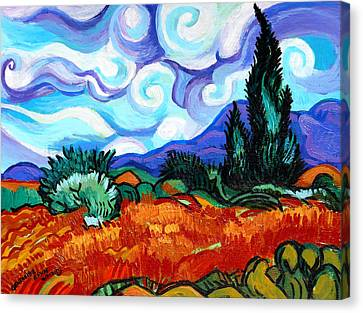 Van Goghs Wheat Field With Cypress Canvas Print by Genevieve Esson