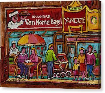 Montreal Memories Canvas Print - Van Horne Bagel With Yangtze Restaurant Montreal Street Scene by Carole Spandau