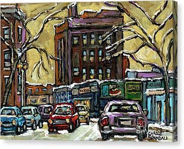 Van Horne Corner Ave Du Parc On The Road Again Montreal Cars In January City Life Paintings Cspandau Canvas Print