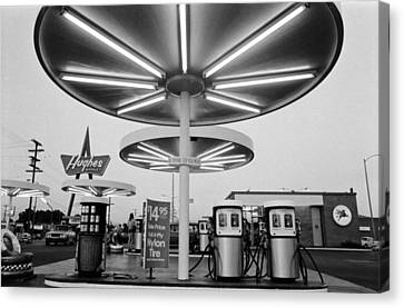 Van Nuys Boulevard Gas Station Symbols Mys 10 Canvas Print by Richard McCloskey