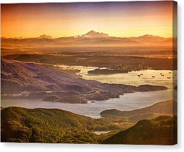 Vancouver And Mt Baker Aerial View Canvas Print by Eti Reid