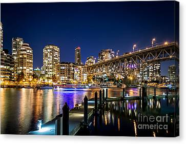 Vancouver At Night Canvas Print by Sabine Edrissi