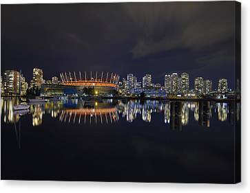 Vancouver Bc Canada City Skyline By False Creek At Night Canvas Print by David Gn