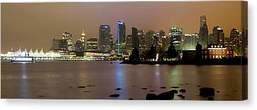 Vancouver Bc City Skyline At Night Canvas Print by David Gn