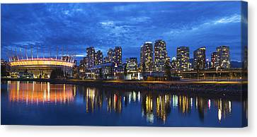 Vancouver Bc City Skyline With Bc Place At Blue Hour Canvas Print by David Gn