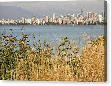 Canvas Print featuring the photograph Vancouver Bc Downtown From Hasting Mills Park by JPLDesigns