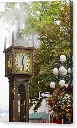 Canvas Print featuring the photograph Vancouver Bc Historic Gastown Steam Clock by JPLDesigns