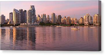 Canvas Print featuring the photograph Vancouver Bc Skyline Along False Creek At Dusk by JPLDesigns
