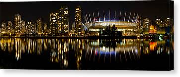 Canvas Print featuring the photograph Vancouver Bc Skyline Along False Creek At Night by JPLDesigns