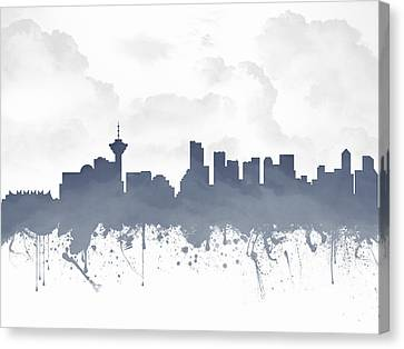 Vancouver British Columbia Skyline - Blue 03 Canvas Print by Aged Pixel
