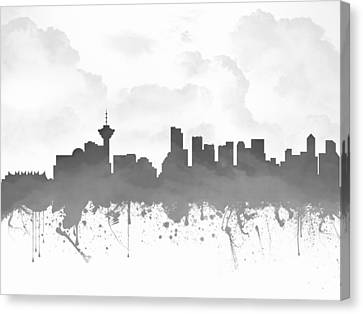 Vancouver British Columbia Skyline - Gray 03 Canvas Print by Aged Pixel