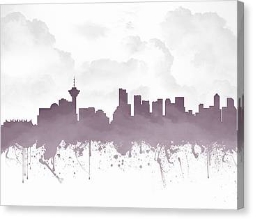 Vancouver British Columbia Skyline - Purple 03 Canvas Print by Aged Pixel