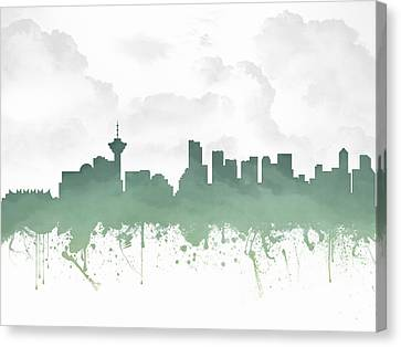 Vancouver British Columbia Skyline - Teal 03 Canvas Print by Aged Pixel