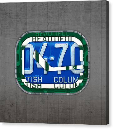 Vancouver Canucks Hockey Team Retro Logo Vintage Recycled British Columbia Canada License Plate Art Canvas Print by Design Turnpike