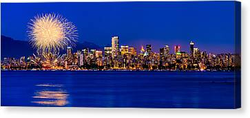 North Vancouver Canvas Print - Vancouver Celebration Of Light Fireworks 2013 - Day 1 by Alexis Birkill
